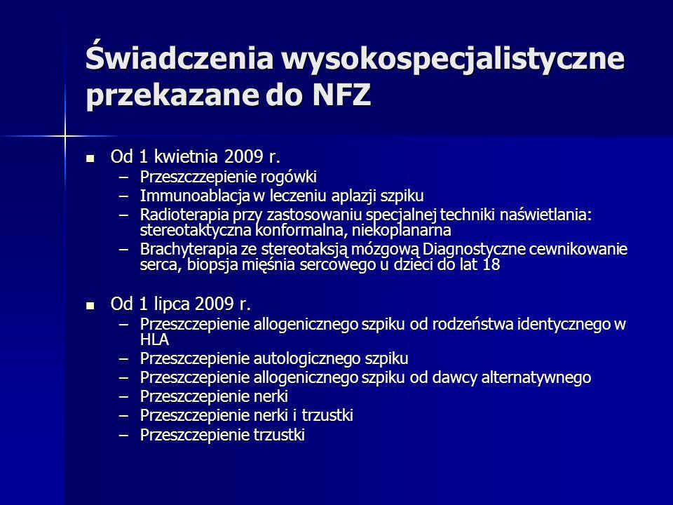 Świadczenia wysokospecjalistyczne przekazane do NFZ Od 1 kwietnia 2009 r. Od 1 kwietnia 2009 r. –Przeszczzepienie rogówki –Immunoablacja w leczeniu ap