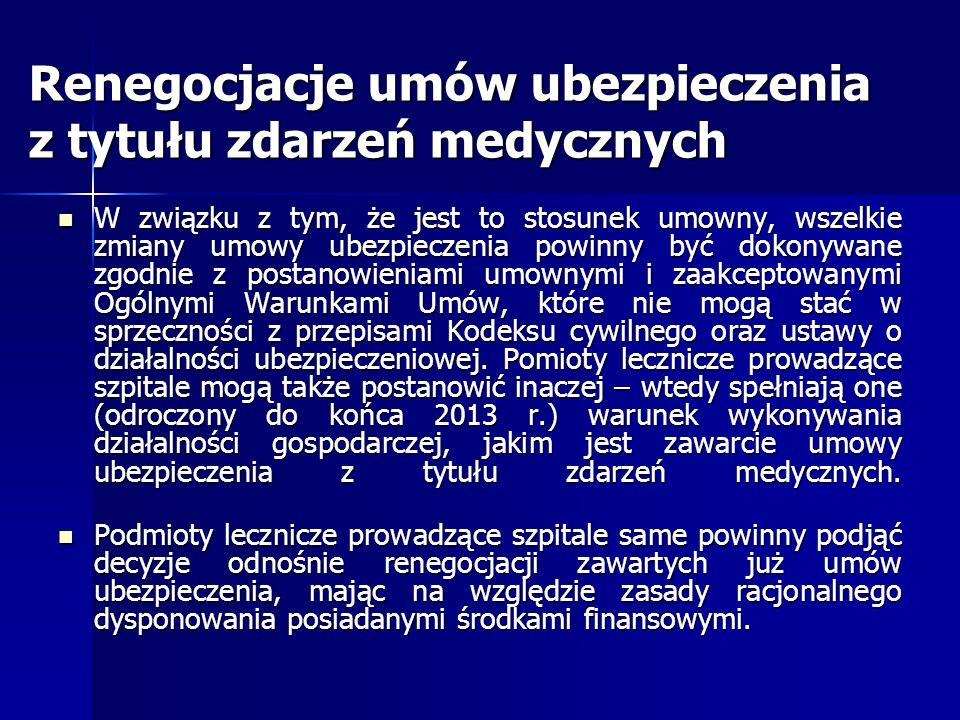 Renegocjacje umów ubezpieczenia z tytułu zdarzeń medycznych W związku z tym, że jest to stosunek umowny, wszelkie zmiany umowy ubezpieczenia powinny b