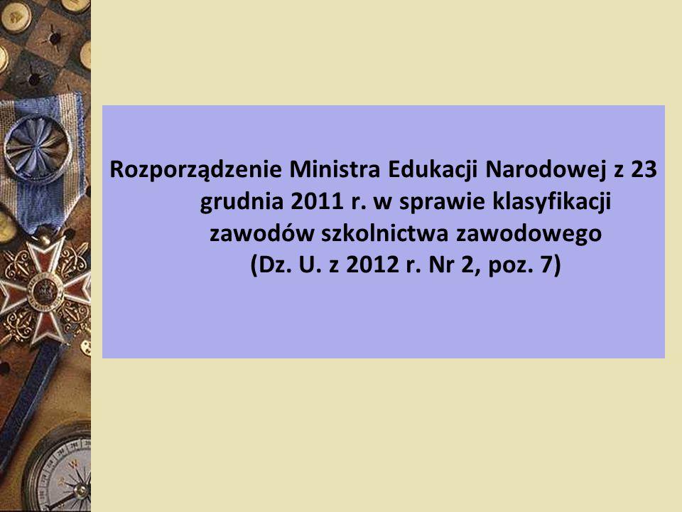 Rozporządzenie Ministra Edukacji Narodowej z 23 grudnia 2011 r. w sprawie klasyfikacji zawodów szkolnictwa zawodowego (Dz. U. z 2012 r. Nr 2, poz. 7)