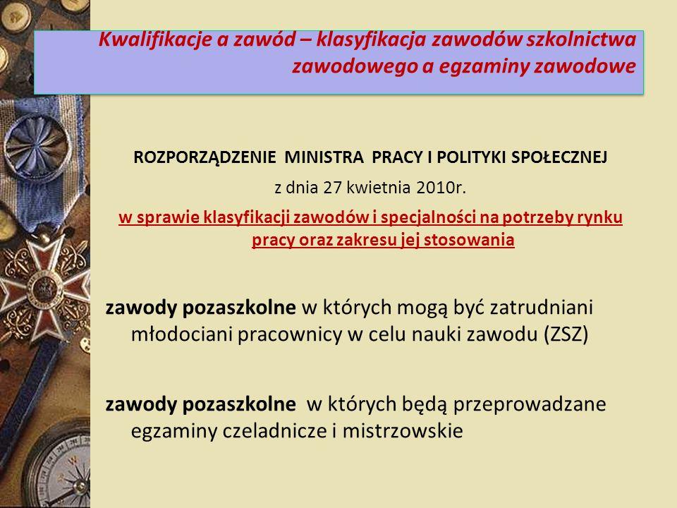 ROZPORZĄDZENIE MINISTRA PRACY I POLITYKI SPOŁECZNEJ z dnia 27 kwietnia 2010r. w sprawie klasyfikacji zawodów i specjalności na potrzeby rynku pracy or