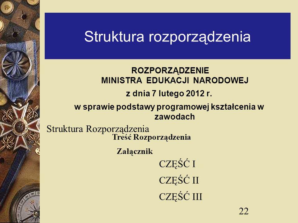 Struktura rozporządzenia ROZPORZĄDZENIE MINISTRA EDUKACJI NARODOWEJ z dnia 7 lutego 2012 r. w sprawie podstawy programowej kształcenia w zawodach 22 T