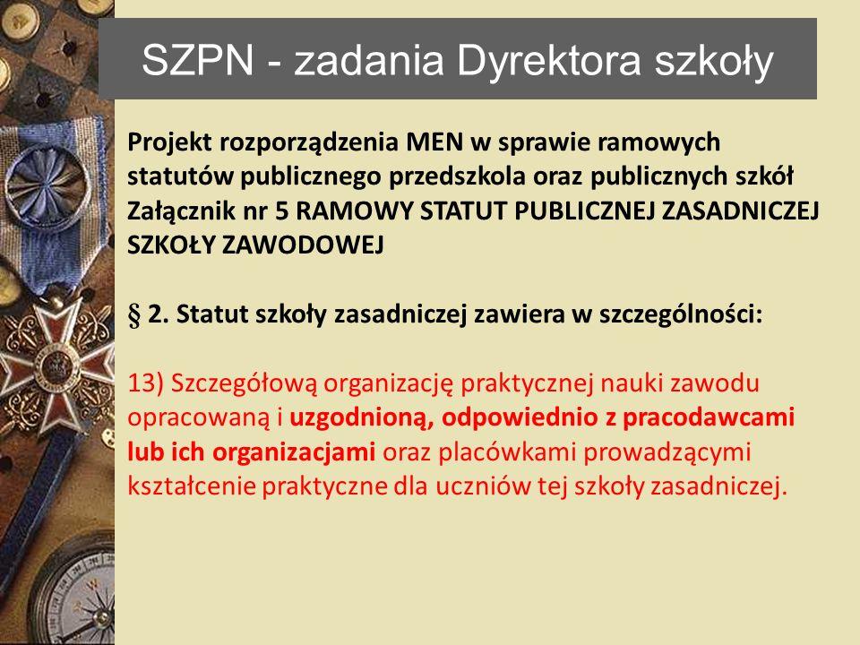 SZPN - zadania Dyrektora szkoły Projekt rozporządzenia MEN w sprawie ramowych statutów publicznego przedszkola oraz publicznych szkół Załącznik nr 5 R