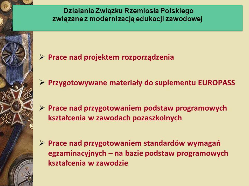 Prace nad projektem rozporządzenia Przygotowywane materiały do suplementu EUROPASS Prace nad przygotowaniem podstaw programowych kształcenia w zawodac
