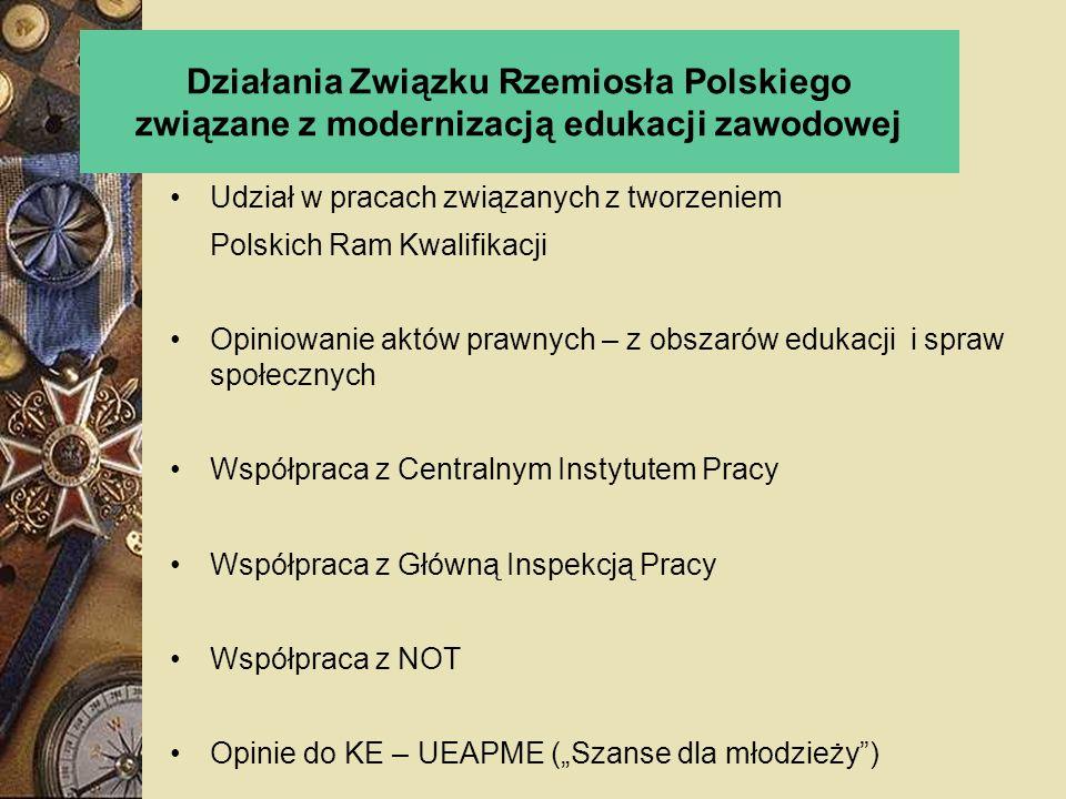 Działania Związku Rzemiosła Polskiego związane z modernizacją edukacji zawodowej Udział w pracach związanych z tworzeniem Polskich Ram Kwalifikacji Op