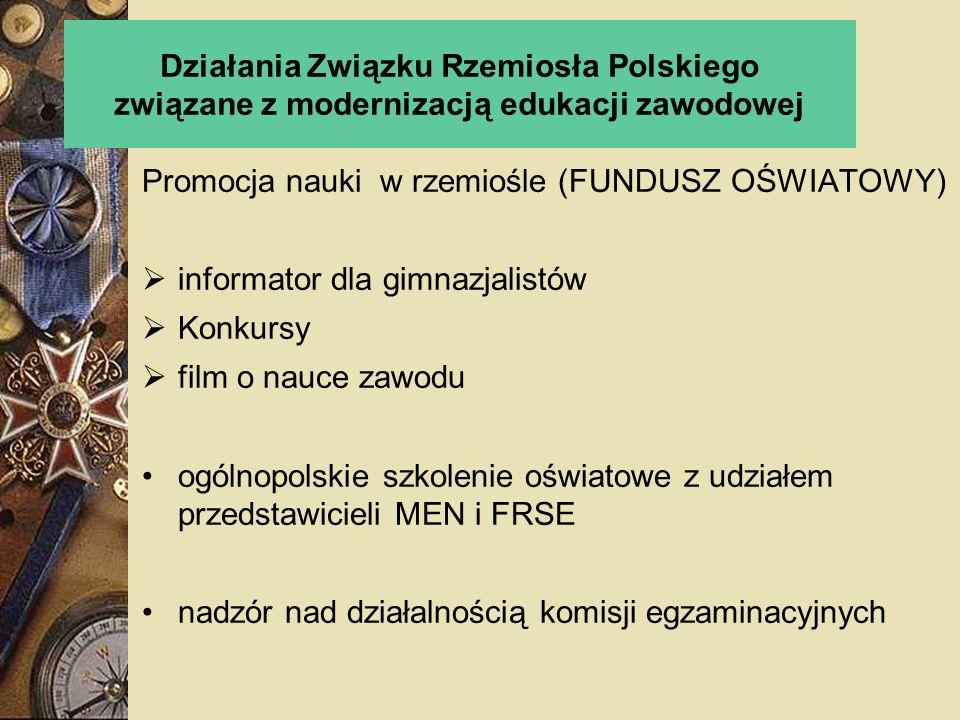 Działania Związku Rzemiosła Polskiego związane z modernizacją edukacji zawodowej Promocja nauki w rzemiośle (FUNDUSZ OŚWIATOWY) informator dla gimnazj