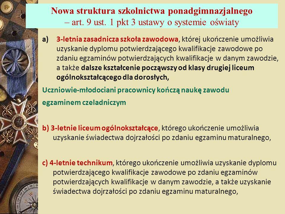 Nowa struktura szkolnictwa ponadgimnazjalnego – art. 9 ust. 1 pkt 3 ustawy o systemie oświaty a)3-letnia zasadnicza szkoła zawodowa, której ukończenie