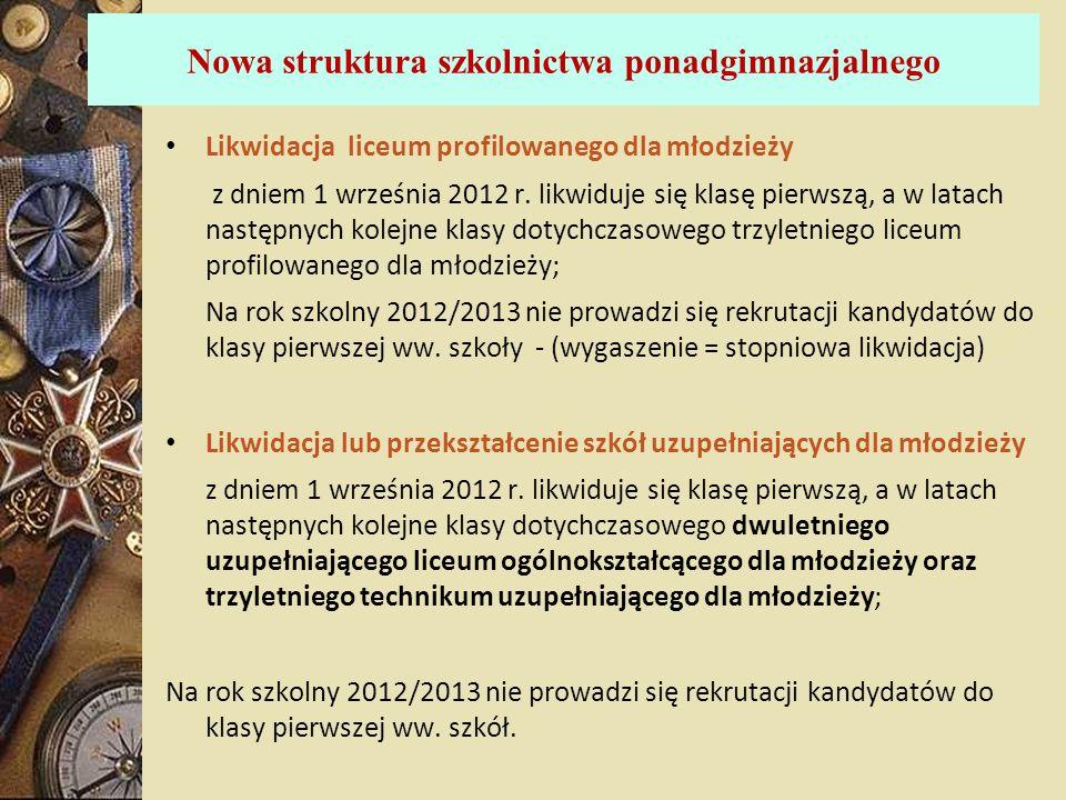 Nowa struktura szkolnictwa ponadgimnazjalnego Likwidacja liceum profilowanego dla młodzieży z dniem 1 września 2012 r. likwiduje się klasę pierwszą, a