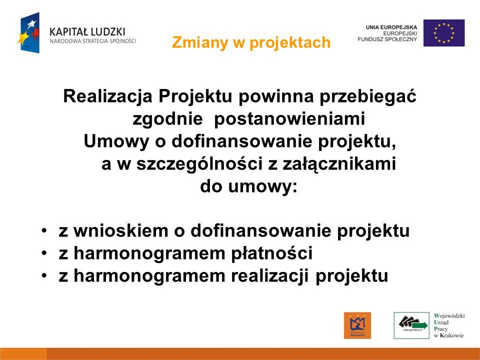 Zmiany w projektach Realizacja Projektu powinna przebiegać zgodnie postanowieniami Umowy o dofinansowanie projektu, a w szczególności z załącznikami d