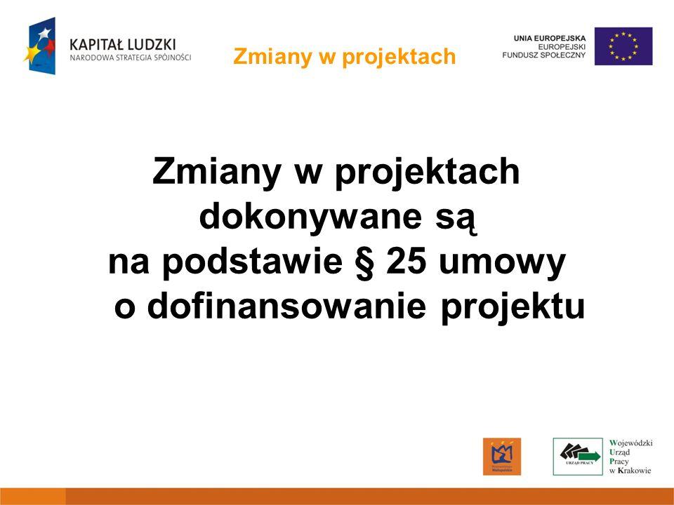 Zmiany w projektach Zmiany w projekcie są możliwe pod warunkiem, że: nie będą zagrożone cele realizacji projektu (określone we wniosku o dofinansowanie) wartość kwoty dofinansowania nie zostanie zwiększona