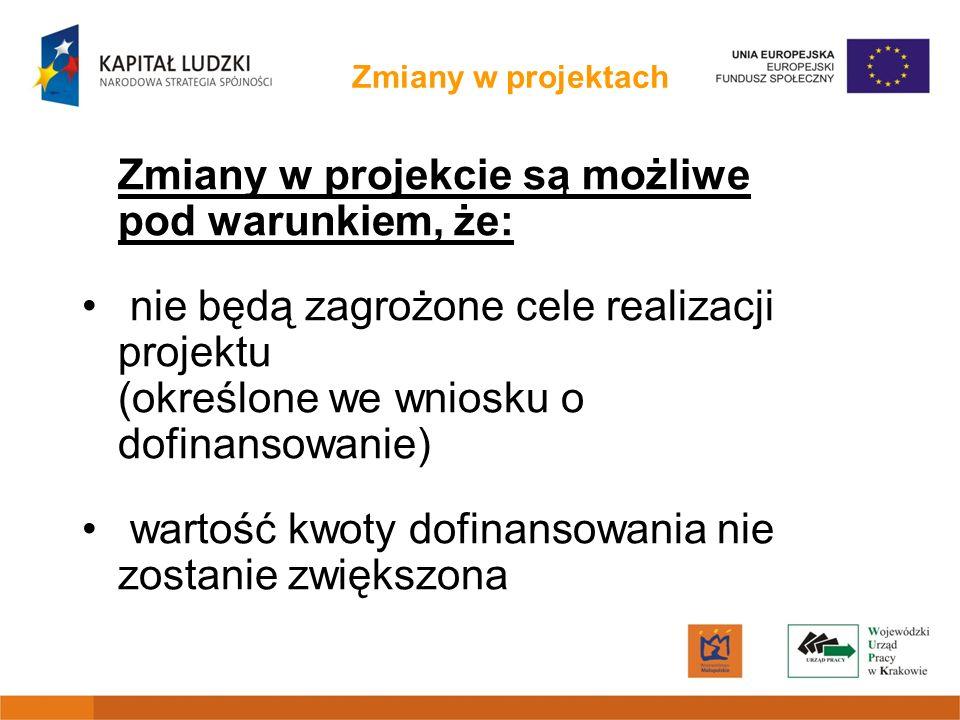 Zmiany w projektach Zmiany w projekcie są możliwe pod warunkiem, że: nie będą zagrożone cele realizacji projektu (określone we wniosku o dofinansowani