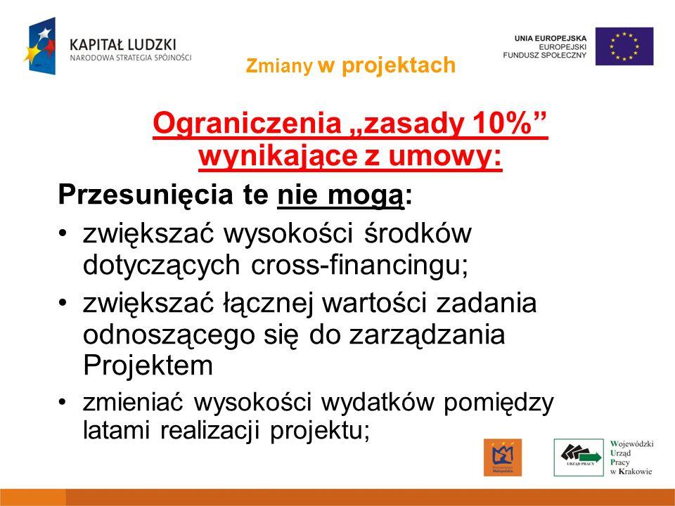 Zmiany w projektach Ograniczenia zasady 10% wynikające z umowy: Przesunięcia te nie mogą: zwiększać wysokości środków dotyczących cross-financingu; zw