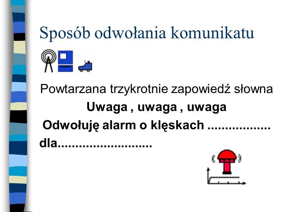 3. Sposób ogłaszania komunikatu Powtarzana trzykrotnie zapowiedź słowna ; Informacja o zagrożeniu i sposobie postępowania mieszkańców
