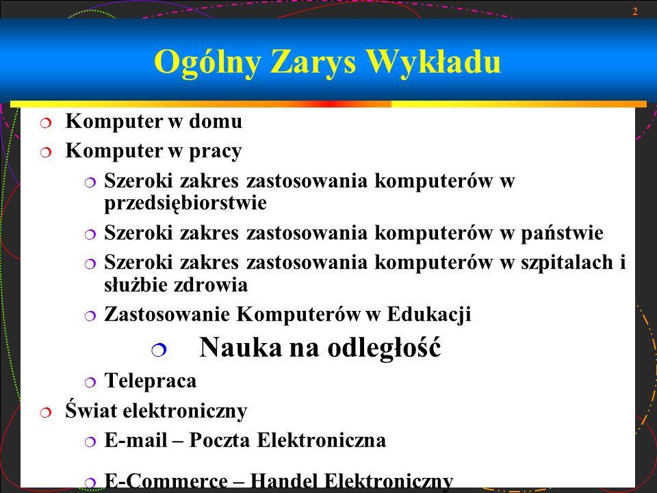 2 Ogólny Zarys Wykładu Komputer w domu Komputer w pracy Szeroki zakres zastosowania komputerów w przedsiębiorstwie Szeroki zakres zastosowania kompute