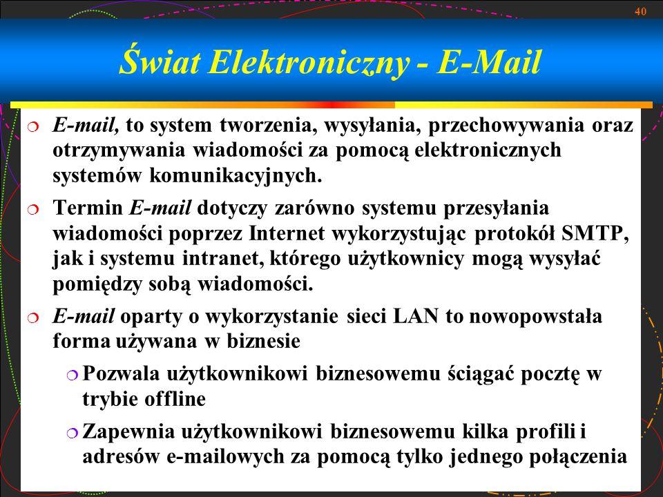 40 Świat Elektroniczny - E-Mail E-mail, to system tworzenia, wysyłania, przechowywania oraz otrzymywania wiadomości za pomocą elektronicznych systemów