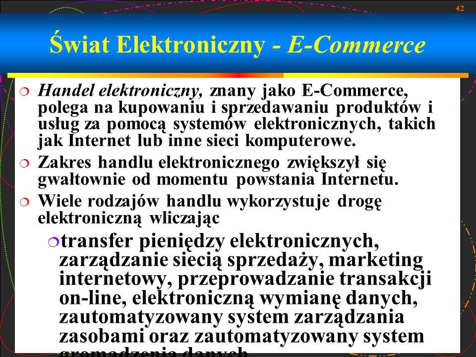 42 Świat Elektroniczny - E-Commerce Handel elektroniczny, znany jako E-Commerce, polega na kupowaniu i sprzedawaniu produktów i usług za pomocą system