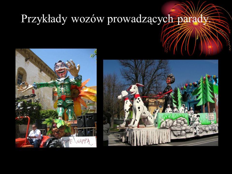 Przykłady wozów prowadzących parady.