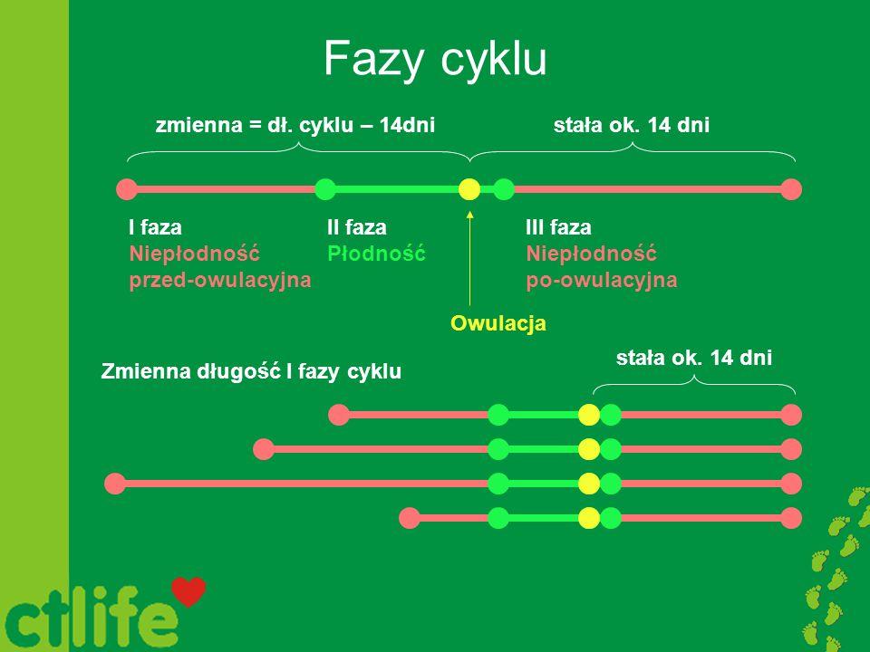 Fazy cyklu I faza Niepłodność przed-owulacyjna III faza Niepłodność po-owulacyjna II faza Płodność Owulacja stała ok. 14 dnizmienna = dł. cyklu – 14dn