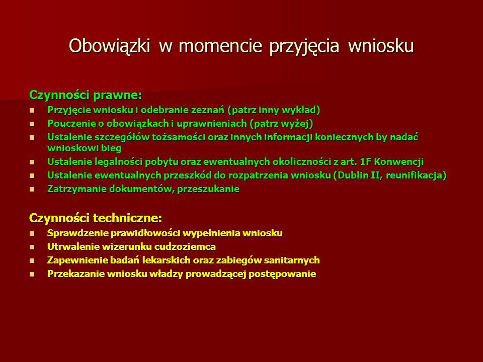 Obowiązki w momencie przyjęcia wniosku Czynności prawne: Przyjęcie wniosku i odebranie zeznań (patrz inny wykład) Przyjęcie wniosku i odebranie zeznań