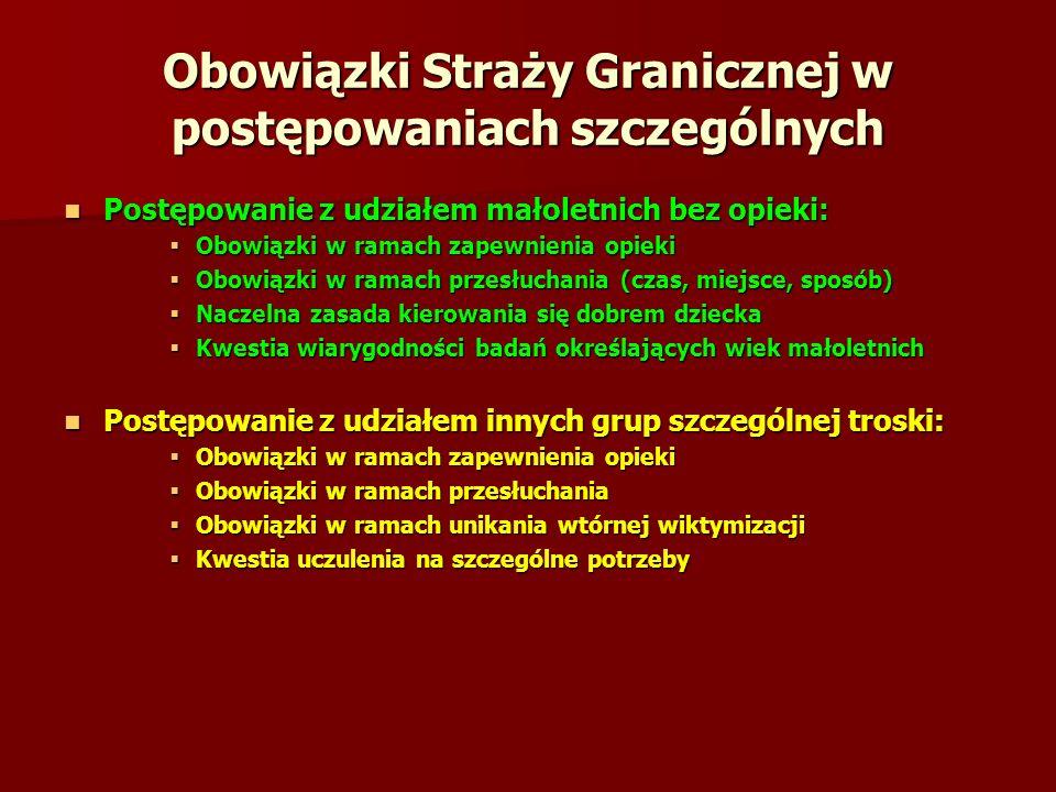 Obowiązki Straży Granicznej w postępowaniach szczególnych Postępowanie z udziałem małoletnich bez opieki: Postępowanie z udziałem małoletnich bez opie