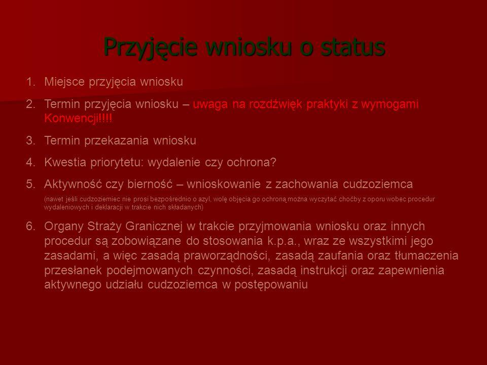 Przyjęcie wniosku o status 1.Miejsce przyjęcia wniosku 2.Termin przyjęcia wniosku – uwaga na rozdźwięk praktyki z wymogami Konwencji!!!! 3.Termin prze