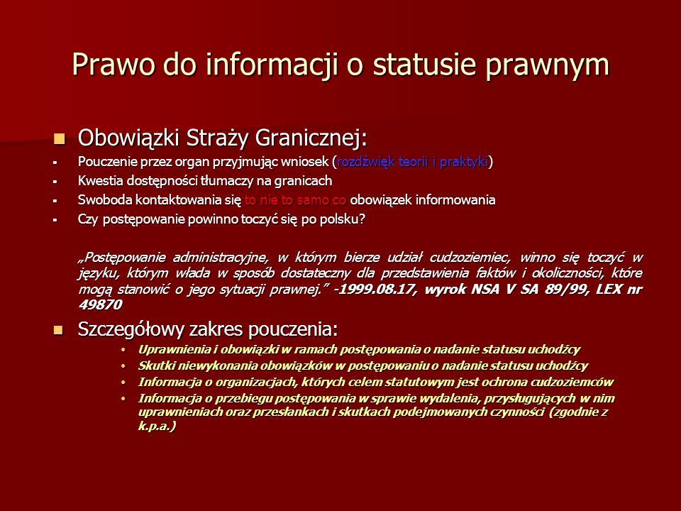Prawo do informacji o statusie prawnym Obowiązki Straży Granicznej: Obowiązki Straży Granicznej: Pouczenie przez organ przyjmując wniosek (rozdźwięk t