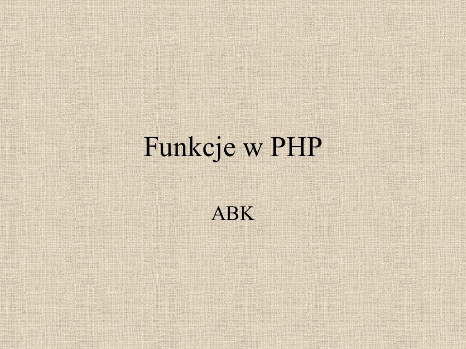 Funkcje w PHP ABK