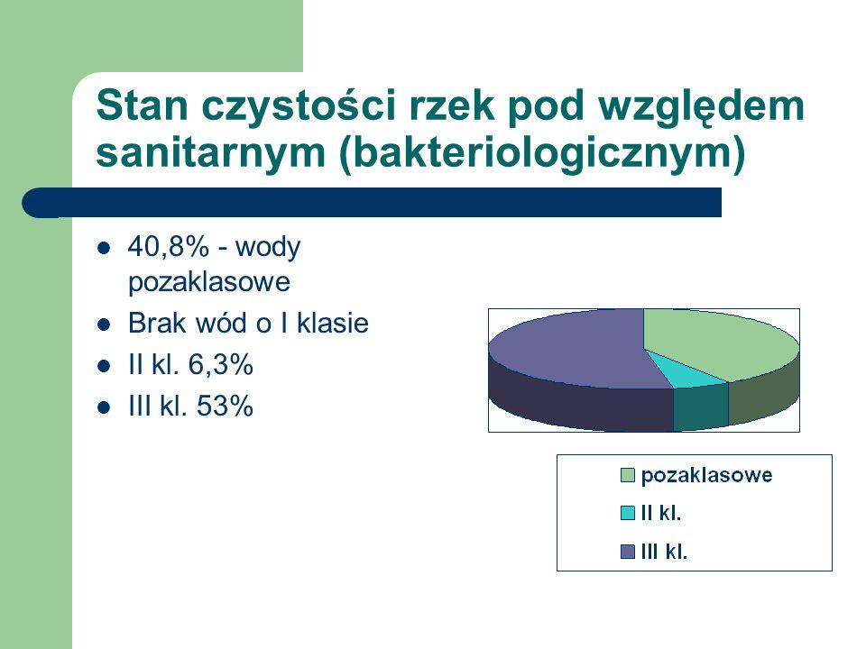 Stan czystości rzek pod względem sanitarnym (bakteriologicznym) 40,8% - wody pozaklasowe Brak wód o I klasie II kl. 6,3% III kl. 53%