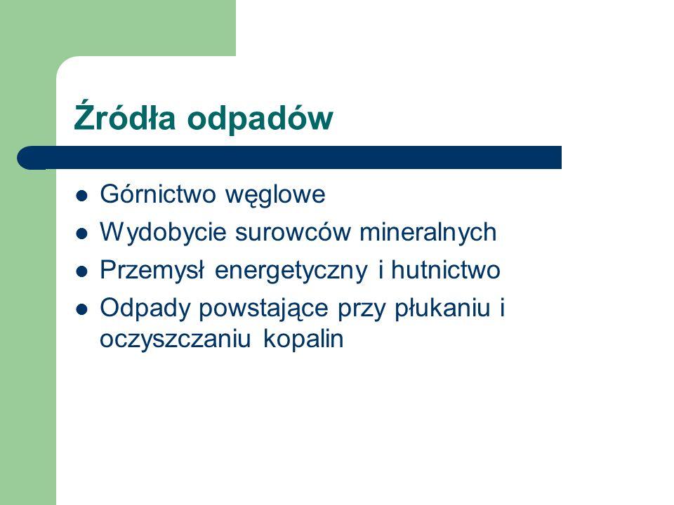 Źródła odpadów Górnictwo węglowe Wydobycie surowców mineralnych Przemysł energetyczny i hutnictwo Odpady powstające przy płukaniu i oczyszczaniu kopal