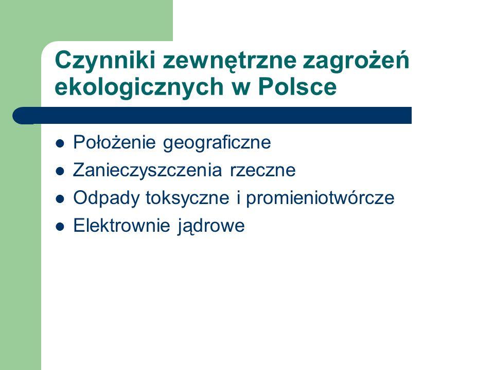 Czynniki zewnętrzne zagrożeń ekologicznych w Polsce Położenie geograficzne Zanieczyszczenia rzeczne Odpady toksyczne i promieniotwórcze Elektrownie ją