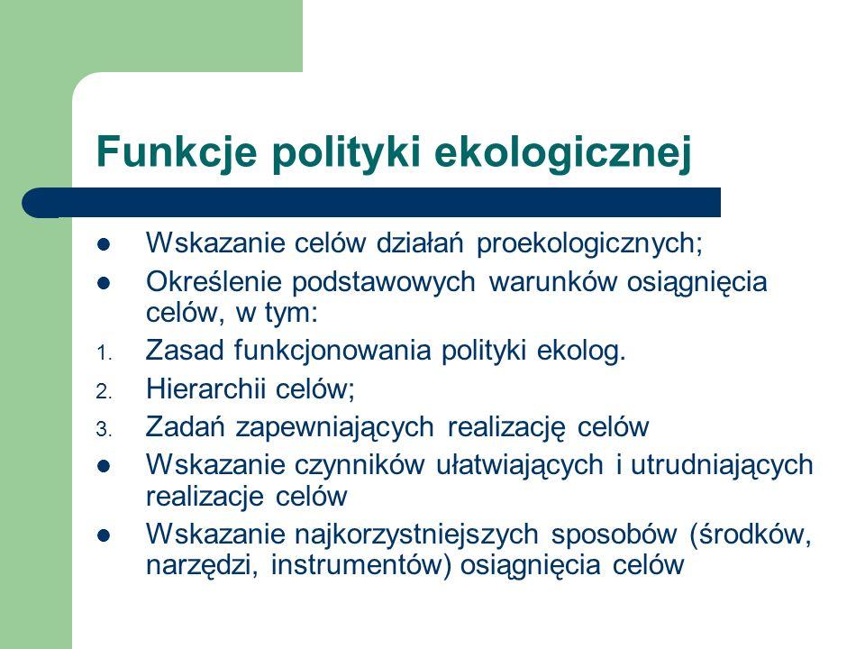 Funkcje polityki ekologicznej Wskazanie celów działań proekologicznych; Określenie podstawowych warunków osiągnięcia celów, w tym: 1. Zasad funkcjonow