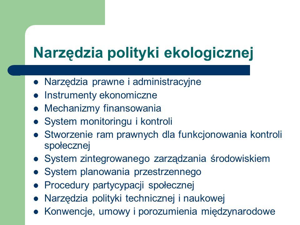 Narzędzia polityki ekologicznej Narzędzia prawne i administracyjne Instrumenty ekonomiczne Mechanizmy finansowania System monitoringu i kontroli Stwor
