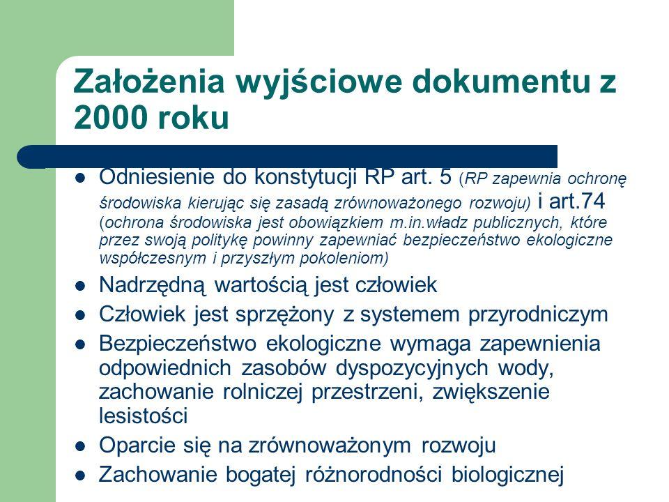 Założenia wyjściowe dokumentu z 2000 roku Odniesienie do konstytucji RP art. 5 (RP zapewnia ochronę środowiska kierując się zasadą zrównoważonego rozw