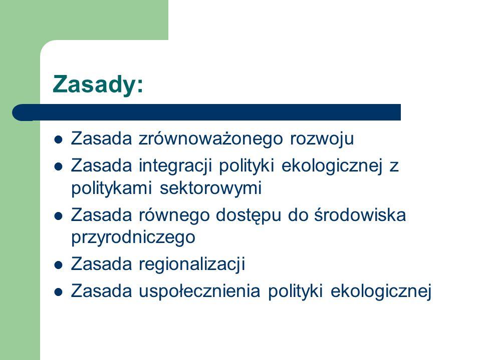 Zasady: Zasada zrównoważonego rozwoju Zasada integracji polityki ekologicznej z politykami sektorowymi Zasada równego dostępu do środowiska przyrodnic