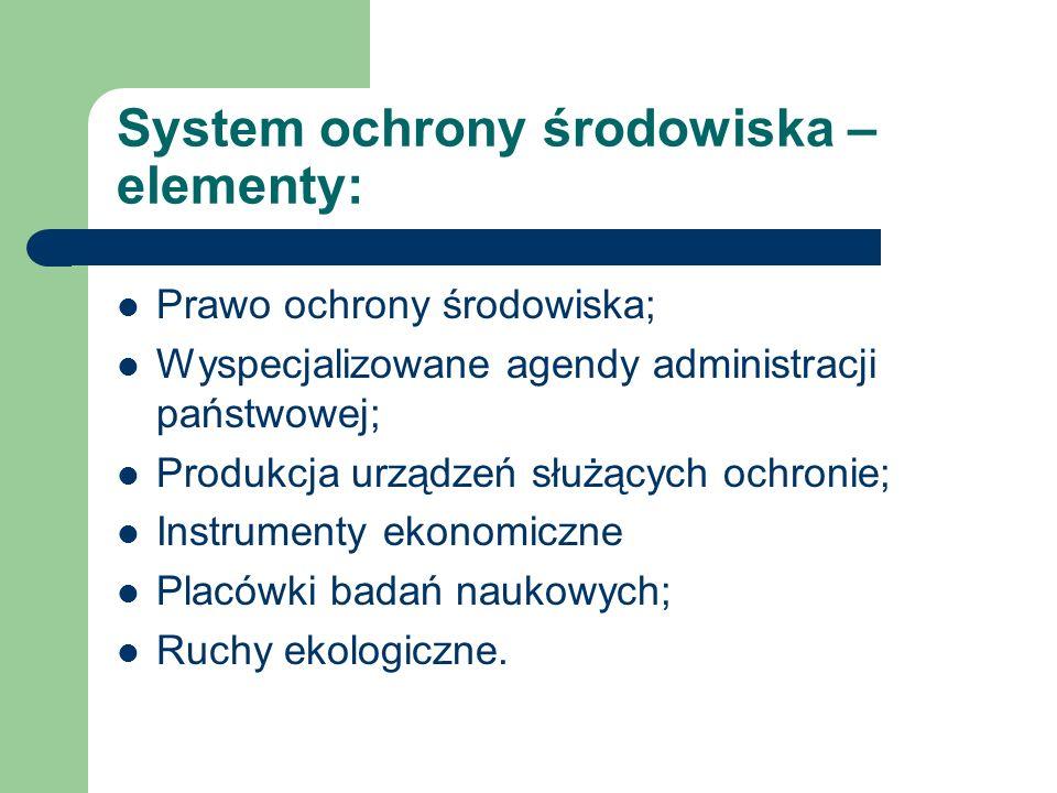 System ochrony środowiska – elementy: Prawo ochrony środowiska; Wyspecjalizowane agendy administracji państwowej; Produkcja urządzeń służących ochroni