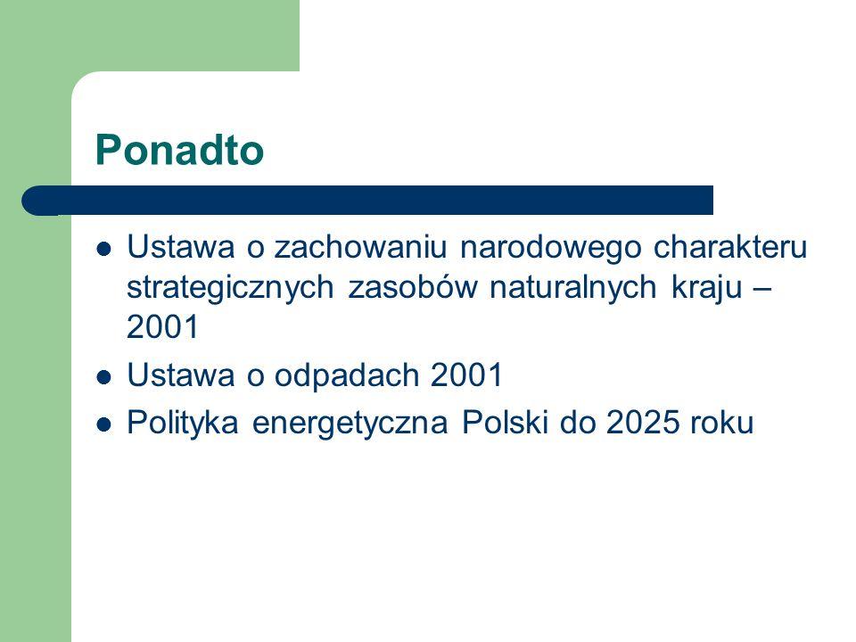 Ponadto Ustawa o zachowaniu narodowego charakteru strategicznych zasobów naturalnych kraju – 2001 Ustawa o odpadach 2001 Polityka energetyczna Polski