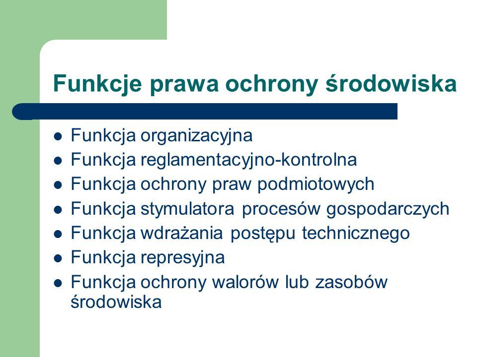 Funkcje prawa ochrony środowiska Funkcja organizacyjna Funkcja reglamentacyjno-kontrolna Funkcja ochrony praw podmiotowych Funkcja stymulatora procesó