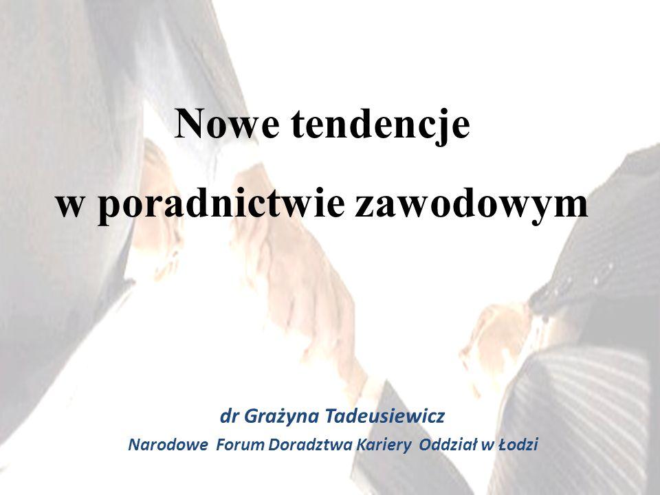 dr Grażyna Tadeusiewicz Narodowe Forum Doradztwa Kariery Oddział w Łodzi Nowe tendencje w poradnictwie zawodowym