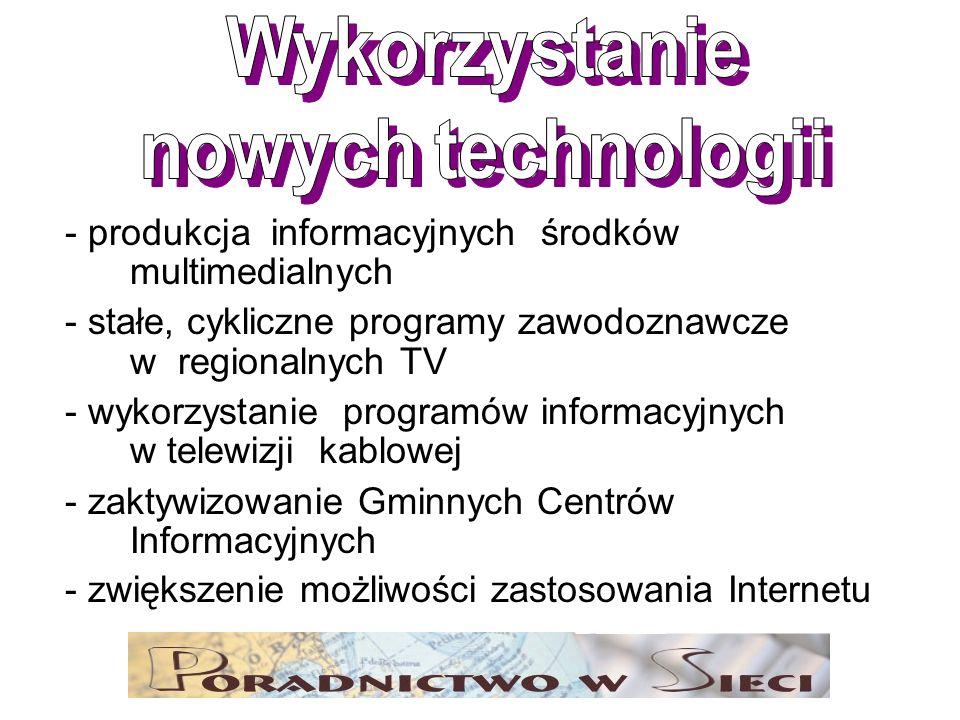 - produkcja informacyjnych środków multimedialnych - stałe, cykliczne programy zawodoznawcze w regionalnych TV - wykorzystanie programów informacyjnyc
