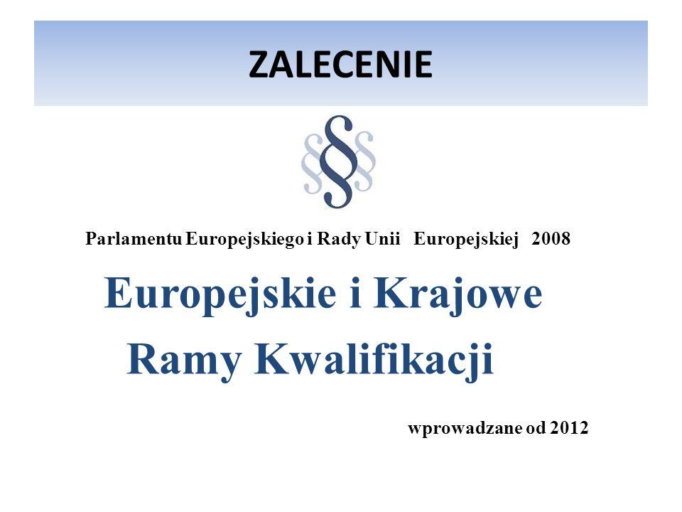 ZALECENIE Parlamentu Europejskiego i Rady Unii Europejskiej 2008 Europejskie i Krajowe Ramy Kwalifikacji wprowadzane od 2012