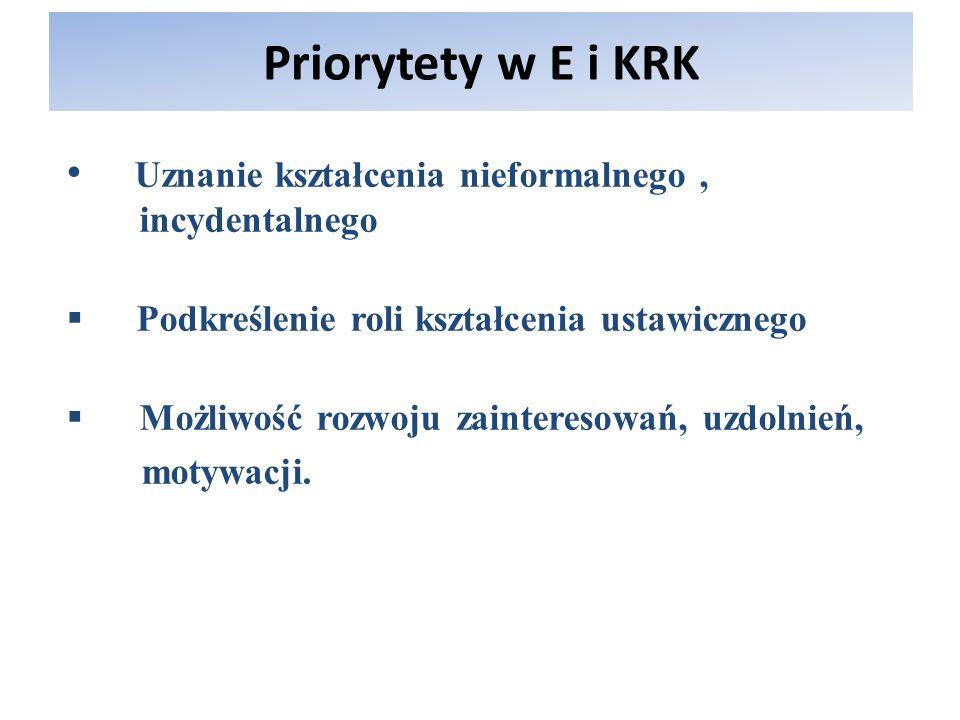 Priorytety w E i KRK Uznanie kształcenia nieformalnego, incydentalnego Podkreślenie roli kształcenia ustawicznego Możliwość rozwoju zainteresowań, uzd