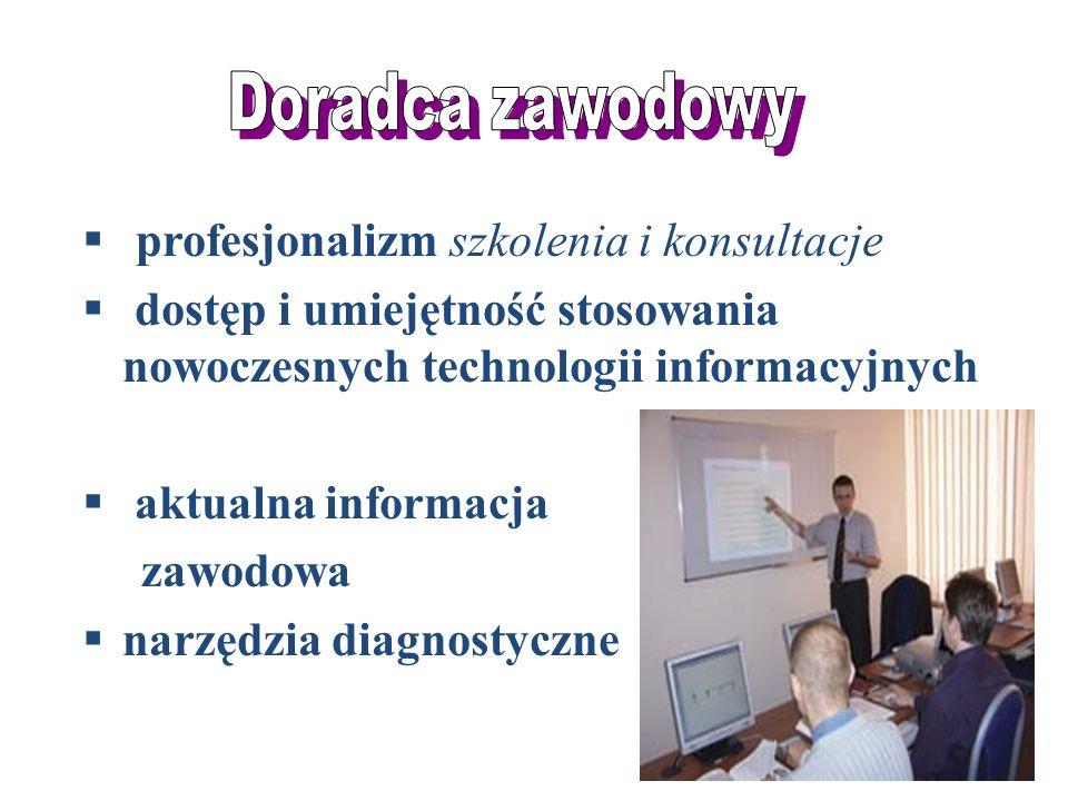 profesjonalizm szkolenia i konsultacje dostęp i umiejętność stosowania nowoczesnych technologii informacyjnych aktualna informacja zawodowa narzędzia