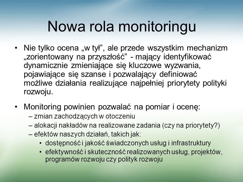 Nowa rola monitoringu Nie tylko ocena w tył, ale przede wszystkim mechanizm zorientowany na przyszłość - mający identyfikować dynamicznie zmieniające