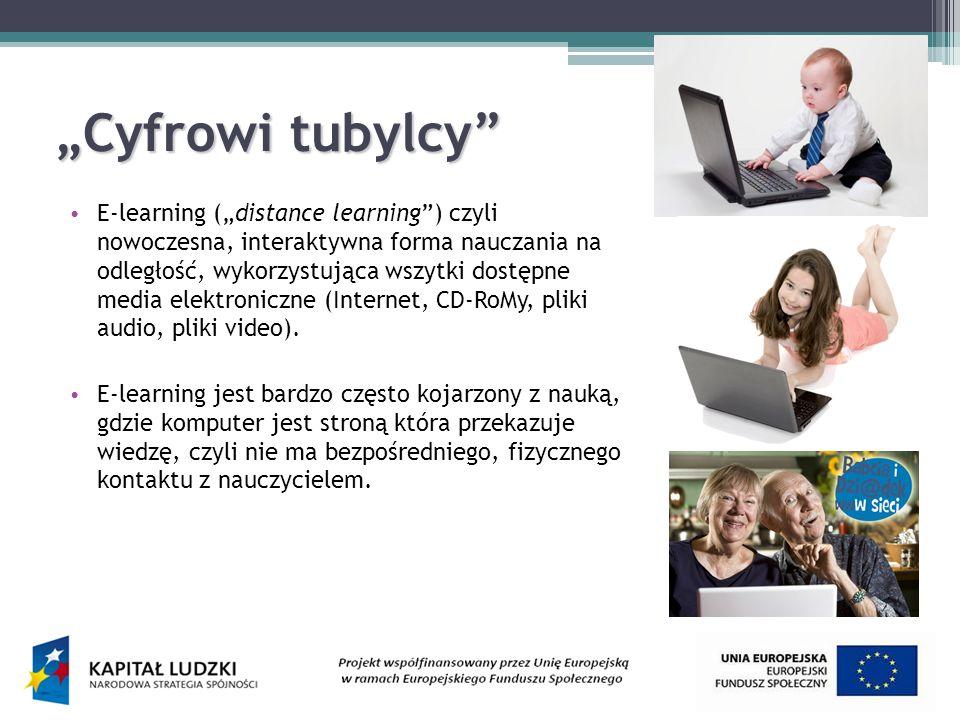 Cyfrowi tubylcy E-learning (distance learning) czyli nowoczesna, interaktywna forma nauczania na odległość, wykorzystująca wszytki dostępne media elektroniczne (Internet, CD-RoMy, pliki audio, pliki video).