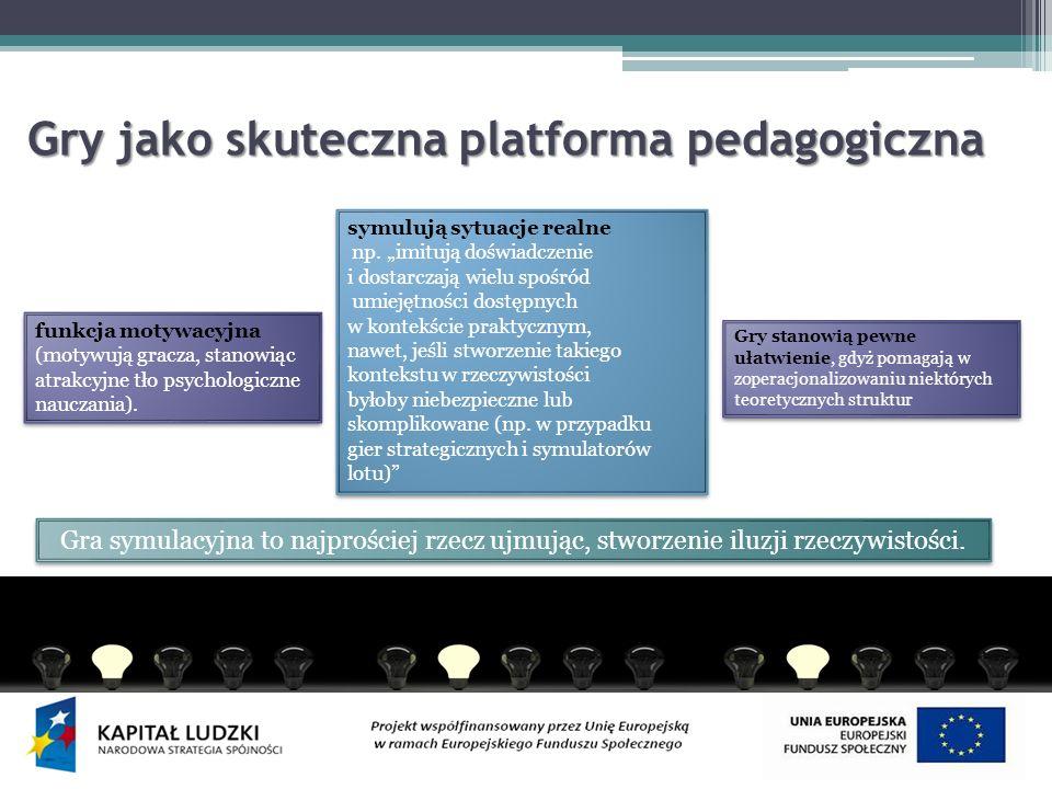 Gry jako skuteczna platforma pedagogiczna Gry jako skuteczna platforma pedagogiczna Gra symulacyjna to najprościej rzecz ujmując, stworzenie iluzji rzeczywistości.