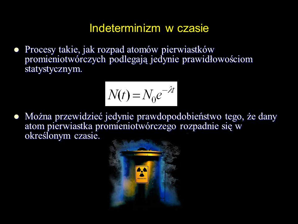 Indeterminizm związany z zasadą nieoznaczoności Heisenberga Nie można jednocześnie z dowolną dokładnością zmierzyć położenia i pędu cząstki elementarnej.