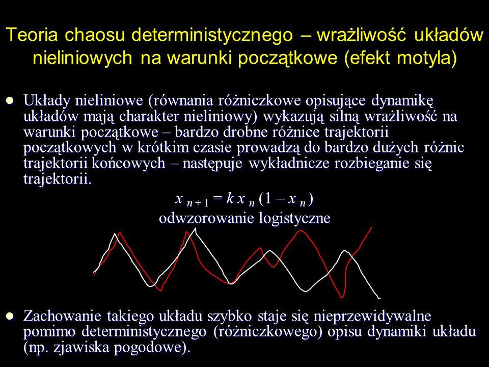 Efekt motyla Zachowanie się układu nieliniowego jest nieprzewidywalne pomimo deterministycznego (różniczkowego) charakteru równań opisujących dynamikę układu.