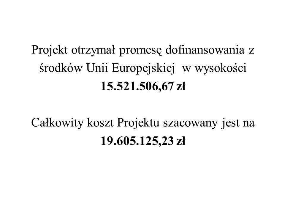 Projekt otrzymał promesę dofinansowania z środków Unii Europejskiej w wysokości 15.521.506,67 zł Całkowity koszt Projektu szacowany jest na 19.605.125