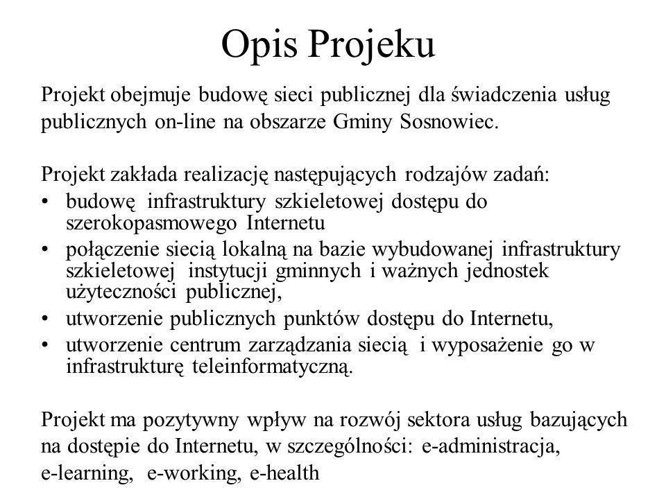 Opis Projektu 2 Niniejszy projekt polega na budowie sieci transmisji danych, która zapewnieni powszechny, szerokopasmowy i bezpieczny dostępu do Internetu na terenie Gminy Sosnowiec dla wszystkich jednostek miejskich zlokalizowanych w strefie działania sieci.