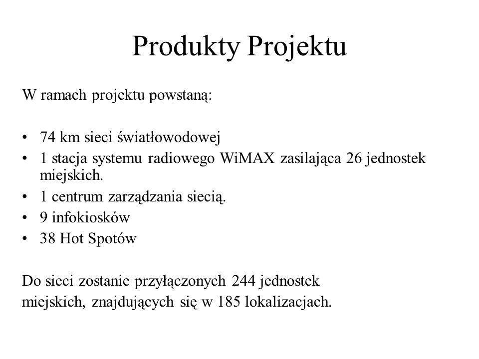 Produkty Projektu W ramach projektu powstaną: 74 km sieci światłowodowej 1 stacja systemu radiowego WiMAX zasilająca 26 jednostek miejskich. 1 centrum