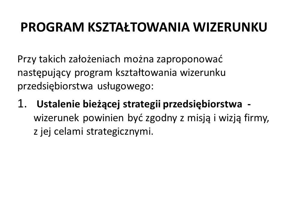 PROGRAM KSZTAŁTOWANIA WIZERUNKU Przy takich założeniach można zaproponować następujący program kształtowania wizerunku przedsiębiorstwa usługowego: 1.